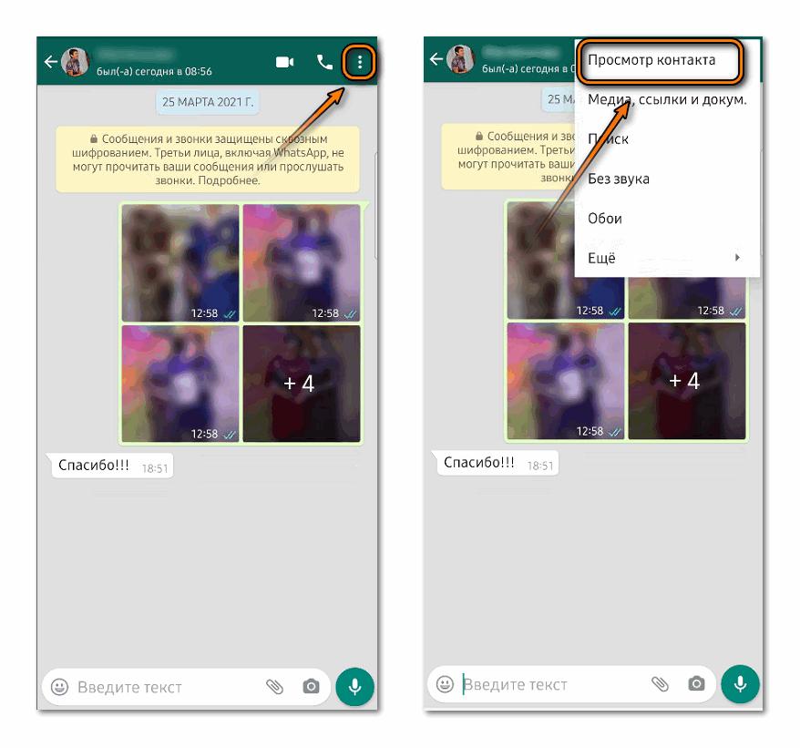 Просмотр контакта в Whatsapp